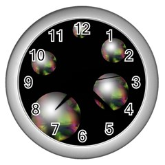 Silver Pearls Wall Clocks (silver)  by Valentinaart