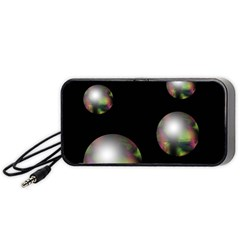 Silver Pearls Portable Speaker (black)  by Valentinaart