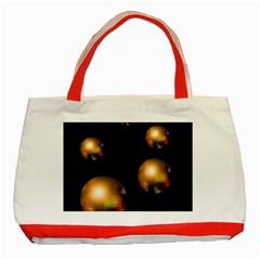 Golden Pearls Classic Tote Bag (red) by Valentinaart