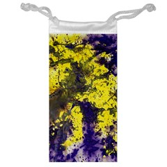 Yellow And Purple Splatter Paint Pattern Jewelry Bags by traceyleeartdesigns