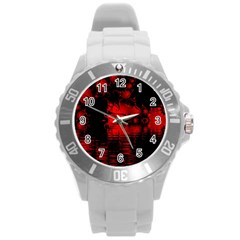Red And Black Lake Fractal Round Plastic Sport Watch (l) by traceyleeartdesigns