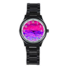 Pink And Blue Water Stainless Steel Round Watch by traceyleeartdesigns
