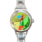 Colorful abstraction Round Italian Charm Watch Front