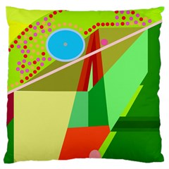 Colorful Abstraction Large Flano Cushion Case (one Side) by Valentinaart