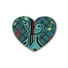Blue Guitar Rubber Coaster (heart)  by Valentinaart