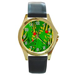 In The Jungle Round Gold Metal Watch by Valentinaart