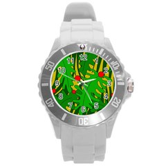 In The Jungle Round Plastic Sport Watch (l) by Valentinaart