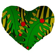 In The Jungle Large 19  Premium Flano Heart Shape Cushions by Valentinaart