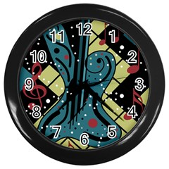 Playful Guitar Wall Clocks (black) by Valentinaart