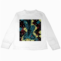 Playful Guitar Kids Long Sleeve T-shirts by Valentinaart