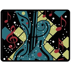 Playful Guitar Double Sided Fleece Blanket (large)  by Valentinaart