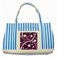 Purple Harmony Striped Blue Tote Bag by Valentinaart