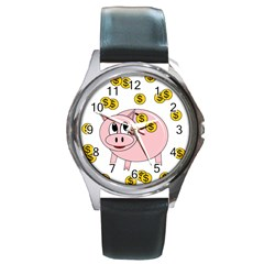 Piggy Bank  Round Metal Watch by Valentinaart