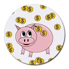 Piggy Bank  Round Mousepads by Valentinaart