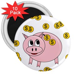 Piggy Bank  3  Magnets (10 Pack)