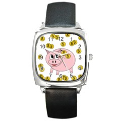 Piggy Bank  Square Metal Watch by Valentinaart