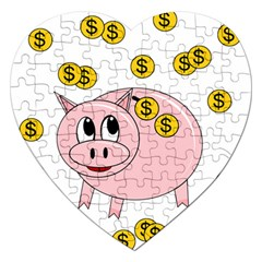Piggy Bank  Jigsaw Puzzle (heart) by Valentinaart