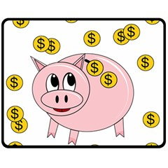 Piggy Bank  Fleece Blanket (medium)  by Valentinaart