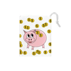 Piggy Bank  Drawstring Pouches (small)  by Valentinaart