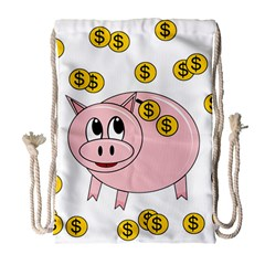 Piggy Bank  Drawstring Bag (large) by Valentinaart