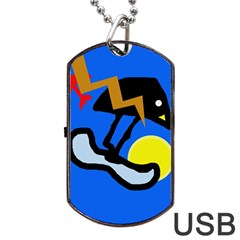 Little Bird Dog Tag Usb Flash (one Side) by Valentinaart