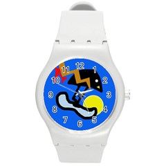 Little Bird Round Plastic Sport Watch (m) by Valentinaart