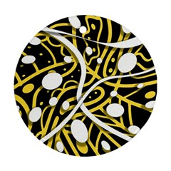 Yellow Movement Round Ornament (two Sides)  by Valentinaart
