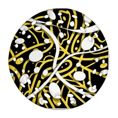 Yellow Movement Round Filigree Ornament (2side) by Valentinaart