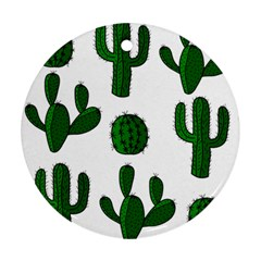 Cactuses Pattern Ornament (round)  by Valentinaart