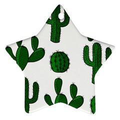 Cactuses Pattern Star Ornament (two Sides)  by Valentinaart