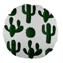 Cactuses Pattern Large 18  Premium Flano Round Cushions by Valentinaart