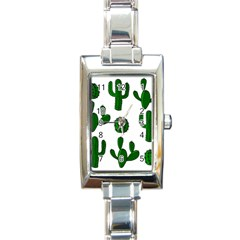 Cactuses Pattern Rectangle Italian Charm Watch by Valentinaart
