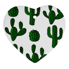 Cactuses Pattern Ornament (heart)  by Valentinaart
