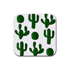 Cactuses Pattern Rubber Coaster (square)  by Valentinaart