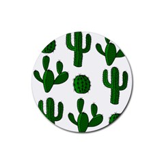 Cactuses Pattern Rubber Coaster (round)  by Valentinaart