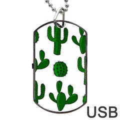 Cactuses Pattern Dog Tag Usb Flash (two Sides)  by Valentinaart