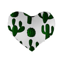 Cactuses Pattern Standard 16  Premium Heart Shape Cushions by Valentinaart