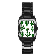 Cactuses Pattern Stainless Steel Barrel Watch by Valentinaart