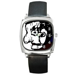 Old Man Square Metal Watch by Valentinaart