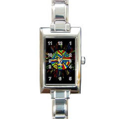 Colorful Bang Rectangle Italian Charm Watch by Valentinaart