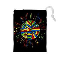 Colorful Bang Drawstring Pouches (large)  by Valentinaart