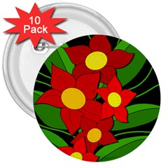 Red Flowers 3  Buttons (10 Pack)  by Valentinaart
