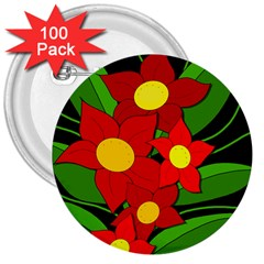 Red Flowers 3  Buttons (100 Pack)  by Valentinaart