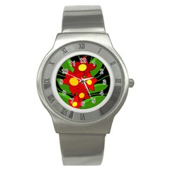 Red Flowers Stainless Steel Watch by Valentinaart