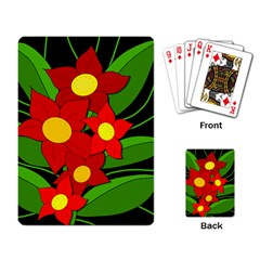 Red Flowers Playing Card by Valentinaart