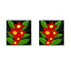 Red Flowers Cufflinks (square) by Valentinaart