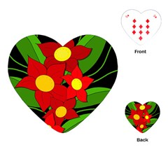 Red Flowers Playing Cards (heart)  by Valentinaart
