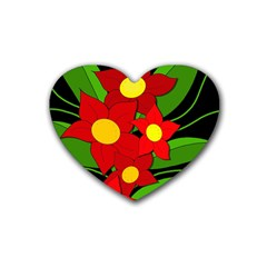 Red Flowers Rubber Coaster (heart)  by Valentinaart