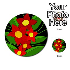 Red Flowers Multi Purpose Cards (round)  by Valentinaart