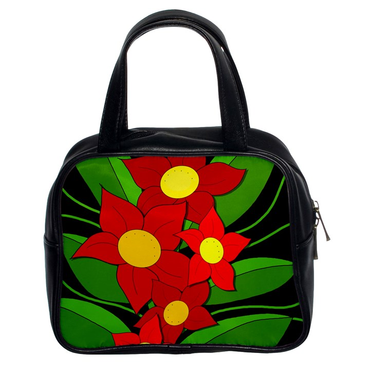 Red flowers Classic Handbags (2 Sides)